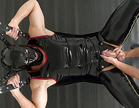 Ass plugged male slave gets a blowjob from his Mistress-Picture3