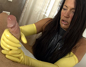 POV handjob with long latex gloves-Picture1