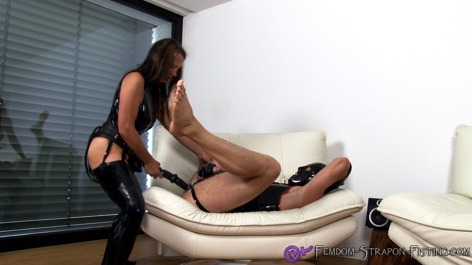 Mistress fucks man with long strapon